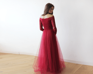 Off-The-Shoulder Burgundy Lace and Tulle Maxi Dress - Nomad Bridal
