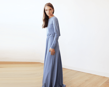 Load image into Gallery viewer, Dusty blue Long Sleeve Formal Maxi Dress With Open-back - Nomad Bridal