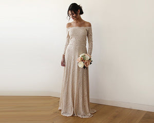 Champagne Off-The-Shoulder Floral Lace Long Sleeve Maxi Dress - Nomad Bridal