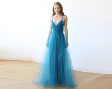 Load image into Gallery viewer, Teal blue straps maxi tulle dress - Nomad Bridal