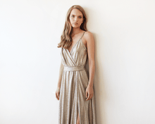 Load image into Gallery viewer, Metallic Gold Wrap Gown With Slit - Nomad Bridal