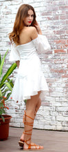 Load image into Gallery viewer, White Lantern Sleeve Dress - Nomad Bridal