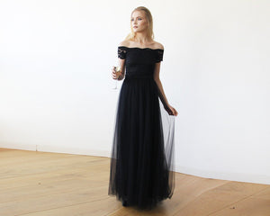 Black Lace Off-the-Shoulder Short Sleeve Tulle Maxi Dress - Nomad Bridal