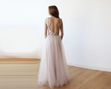 Load image into Gallery viewer, Sleeveless Pink Sequins Tulle Maxi Dress with Open-Back - Nomad Bridal