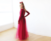 Load image into Gallery viewer, Bordeaux maxi tulle dress with long sleeves - Nomad Bridal