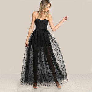 Mesh Overlay Strapless Sheer Cut Out Dress - Nomad Bridal