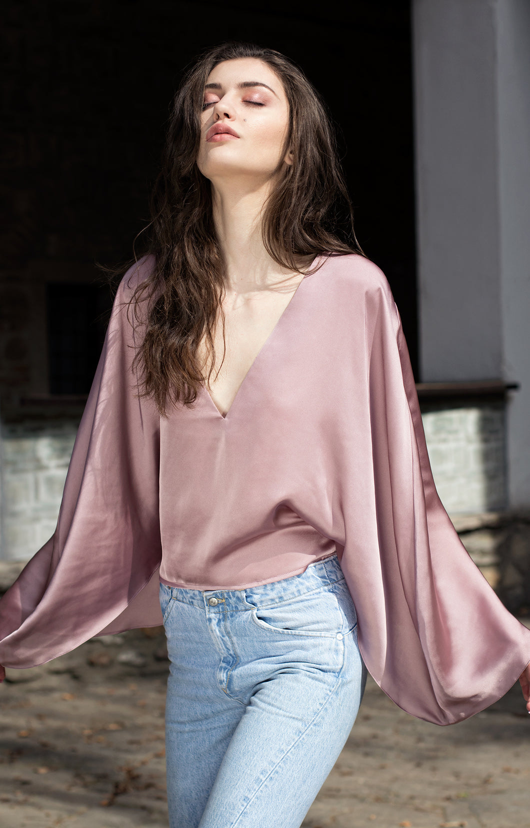 Silk cape shirt-Bastet Noir - Nomad Bridal