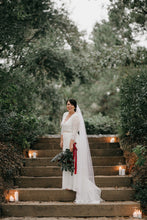 Load image into Gallery viewer, Ivory Wrap Floral Lace Long Sleeve Gown with a Train - Nomad Bridal