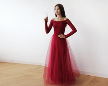 Load image into Gallery viewer, Off-The-Shoulder Burgundy Lace and Tulle Maxi Dress - Nomad Bridal
