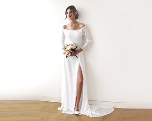 Ivory Off-The-Shoulder Long Sleeve Floral Lace Wedding Dress with a Slit & Train - Nomad Bridal