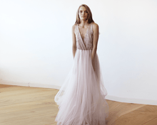 Load image into Gallery viewer, Pink Sequins and Tulle Maxi Gown