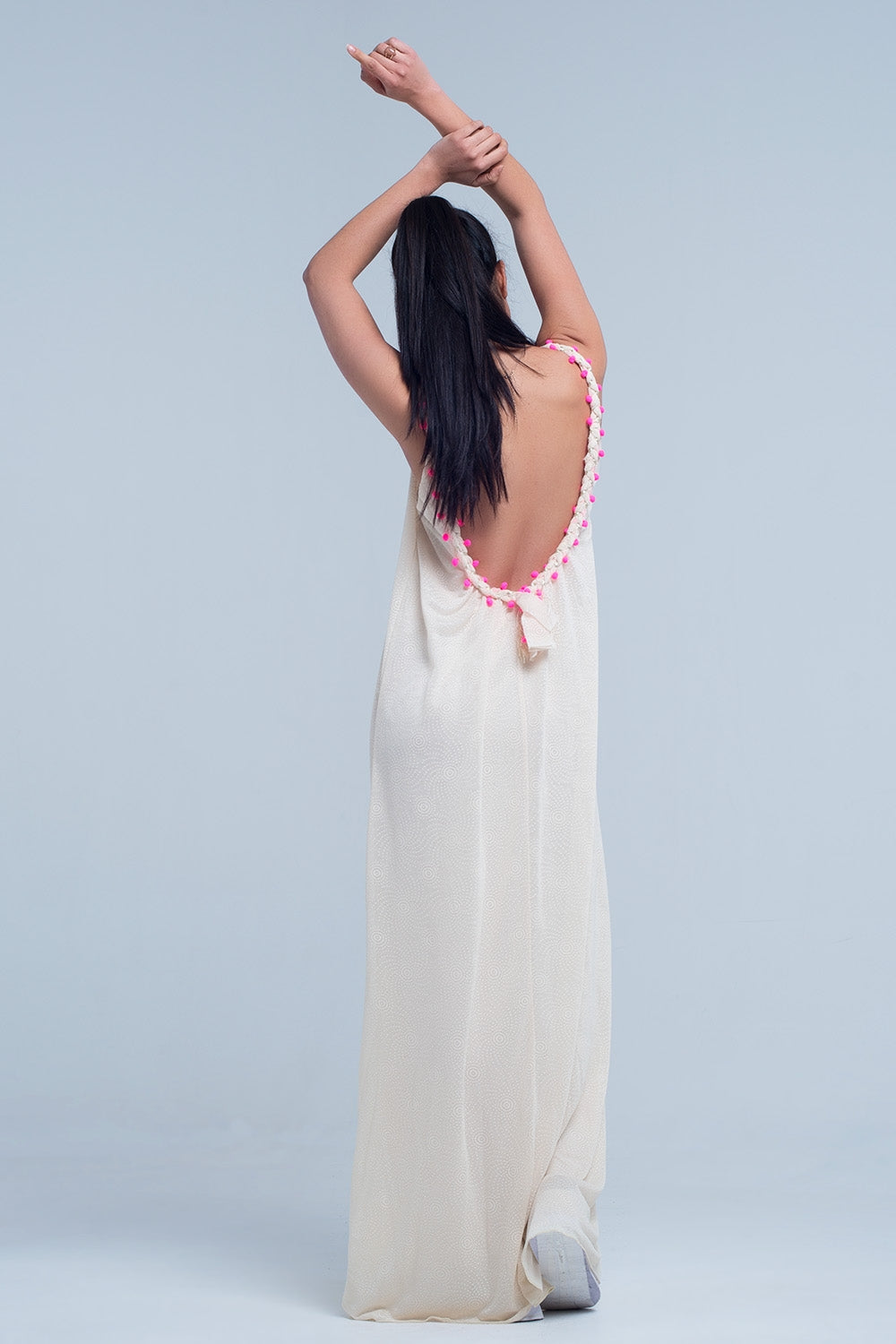 Beige maxi dress with with pom pom detailing - Nomad Bridal