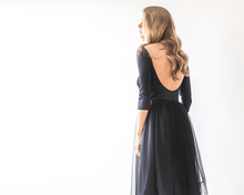 Load image into Gallery viewer, Black Backless Tulle Maxi Dress - Nomad Bridal