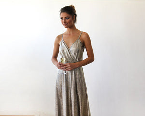 Metallic Gold Wrap Gown With Slit - Nomad Bridal