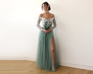Off-Shoulder Floral And Green Tulle Dress With A Slit - Nomad Bridal