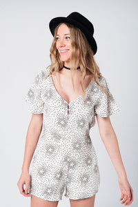 Black stars print white romper with open back - Nomad Bridal