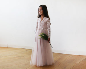 Tulle and lace long sleeves Pink Flower Girls Gown
