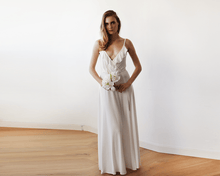 Load image into Gallery viewer, Bridal maxi wrap dress with ruffle and straps - Nomad Bridal