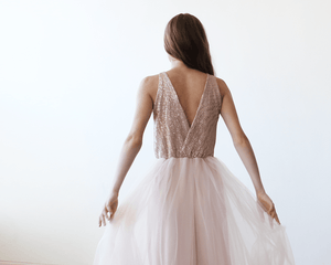 Pink Sequins and Tulle Maxi Gown