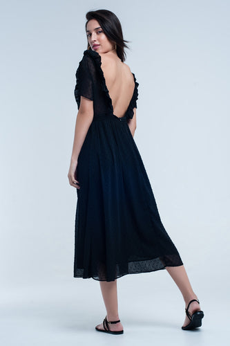 Black midi dress with embroidered polka dots - Nomad Bridal
