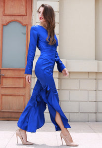 Royal Blue Satin Jumpsuit - Nomad Bridal