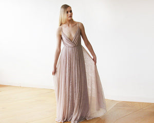Soft-Taupe Lace Wrap Maxi Dress with straps - Nomad Bridal