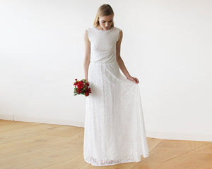 Sleeveless Ivory Floral lace Bridal Gown With Open Back - Nomad Bridal
