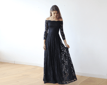 Load image into Gallery viewer, Off-The-Shoulder Bordeaux Floral Lace Long Sleeve Maxi Dress - Nomad Bridal