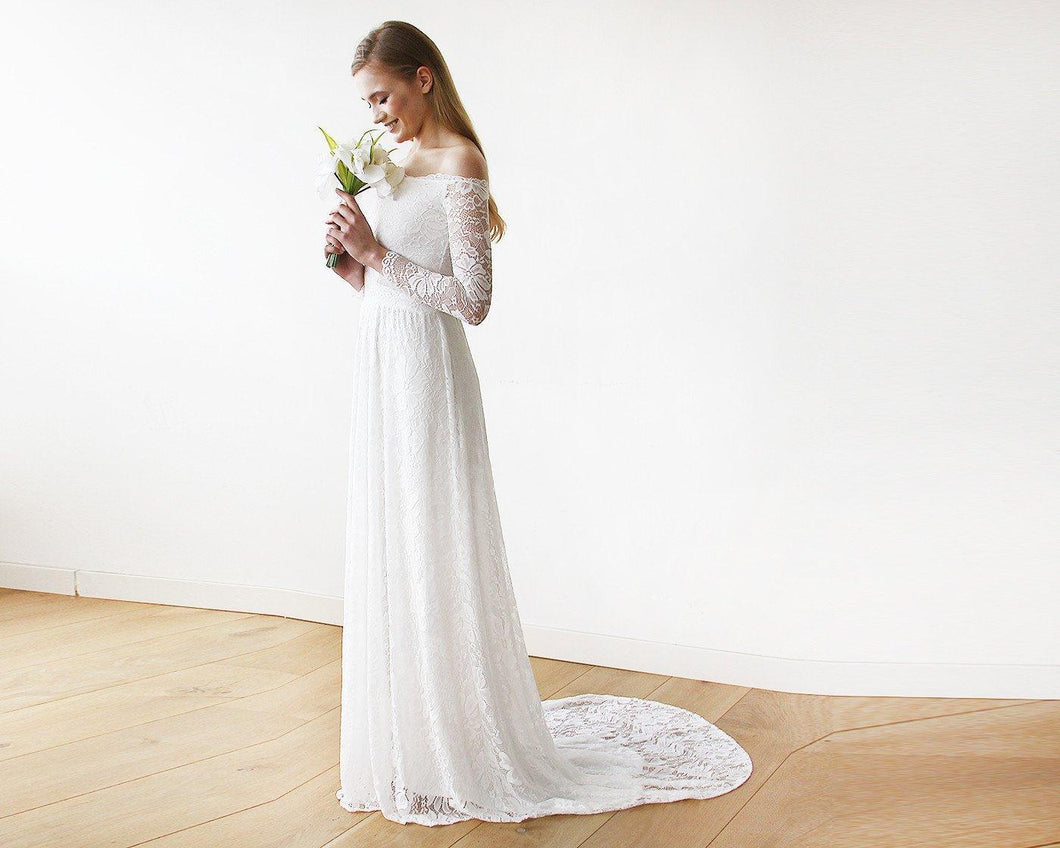 Ivory Off-The-Shoulder Floral Lace Long Sleeve Maxi Dress with Train - Nomad Bridal