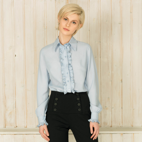 Blue Ruffle Button Down Shirt - Nomad Bridal