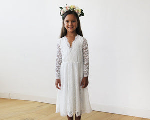 Ivory lace long sleeves Flower Girls Short Dress