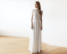 Load image into Gallery viewer, Sleeveless Ivory backless lace maxi wedding dress - Nomad Bridal