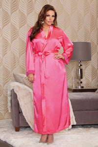 iCollection Long Satin Robe Fuchsia - Nomad Bridal