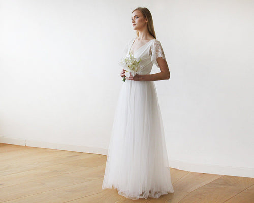 Ivory Lace Sleeves and Maxi Tulle Bridal Gown