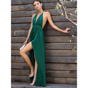 Sexy High Slit Satin Maxi Party Dress - Nomad Bridal