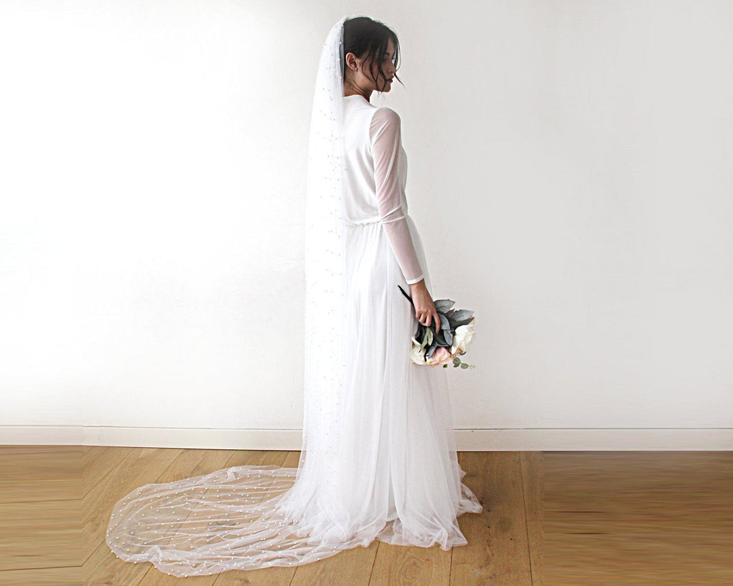 Train length Wedding veil with Pearls - Nomad Bridal