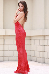 Red Sequin Evening Gown - Nomad Bridal