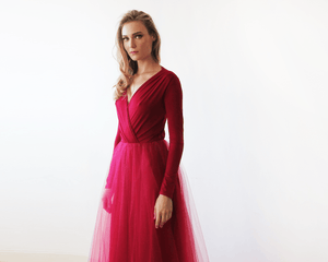 Bordeaux maxi tulle dress with long sleeves - Nomad Bridal