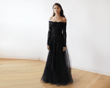 Load image into Gallery viewer, Black Off-The-Shoulder Lace and Tulle Maxi Dress - Nomad Bridal