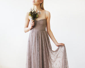 Taupe Sweetheart Neckline Lace Maxi Dress - Nomad Bridal