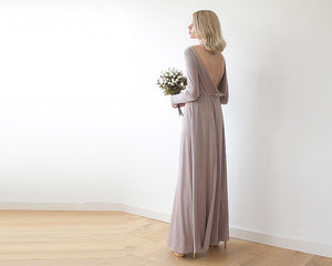 Taupe Long Sleeve Formal Maxi Dress With Open-back - Nomad Bridal