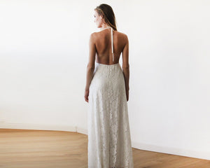 Lace V-neck Beach Wedding Maxi Dress - Nomad Bridal
