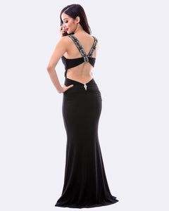 Beaded Evening Dress w/ Split - Black - Nomad Bridal