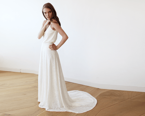 Floral Lace Bridal Maxi Skirt with long train - Nomad Bridal