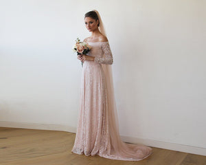 Baby Pink Off-The-Shoulder Floral Lace Long Sleeve Wedding Dress With Train - Nomad Bridal