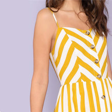 Load image into Gallery viewer, Striped Spaghetti Strap High Waist Mid-Calf Cami Dress - Nomad Bridal