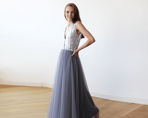 Silver Sequins and Grey Tulle Maxi Gown SALE