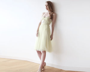 Pastel Yellow Ballerina Tulle Midi Dress