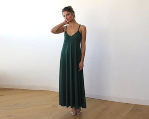 Emerald Green Maxi dress with thin straps - Nomad Bridal