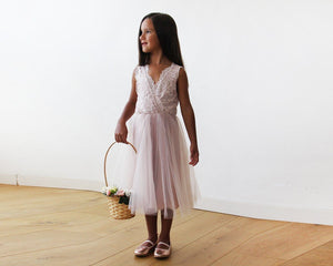 Midi pink Tulle and lace sleeveless Flower Girls Dress